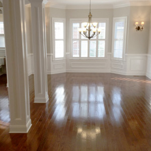 Dining Room with Hardwood Floors and Feature Lighting in NJ